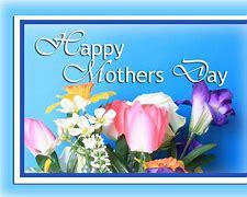 Happy Mother's Day w flowers on blue background
